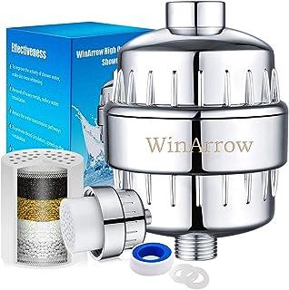 Waterfilter voor douche van WinArrow, WA550, hoog uitgangsvermogen, universeel, met verwisselbare 5-traps filtercartridge,...
