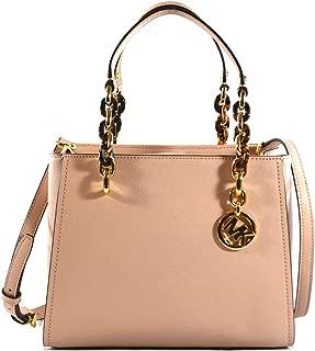 Michael Kors Sofia Saffiano Leather Satchel Crossbody Bag Purse Tote Handbag, Ballet