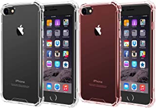 [2Pack] iEugen Protective Clear+Rosegold Crystal Clear case for iPhone 8, 7,Scratch-Resistant case Slim Fit Shell Shock Absorption,Thin Grip Cover Bumper Soft TPU Cover Case for iPhone 7/8 4.7 Inch