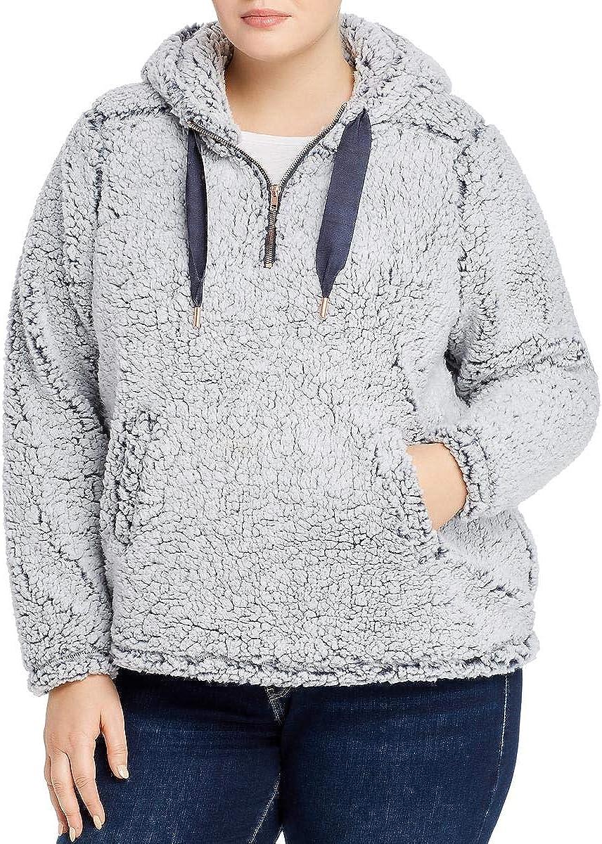 Cupio Blush Womens Plus Sherpa Hooded Fleece Jacket