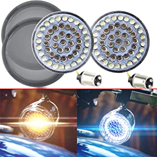 Eagle Lights 2 inch Harley Front LED Turn Signals with White Running Lights for Harley Davidson Motorcycles 1157 Bullet style turn signals (with Smoke Lenses)