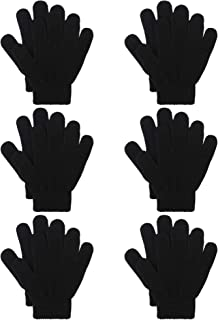 6 Pairs Kids Knitted Magic Gloves Teens Warm Winter Stretchy Full Fingers Gloves