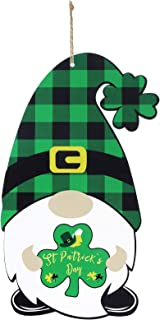 St Patrick's Day Gnome Door Sign St Patrick's Day Wall Wooden Hanging Board Shamrock Clover Wood Plaid Scandinavian Tomte ...