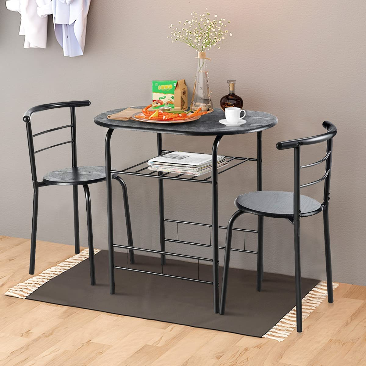 Buy Nafort 9 Piece Round Dining Table Set for 9, Compact Table ...