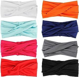 8 Piezas Turbante Para Mujer Color Puro Venda De Pelo Diadema Accesorios Para El Cabello