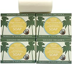 Niugini Organics Virgin Coconut Oil Soap - 4 Pack Lemongrass Soap Bars. Multi Award Winner.