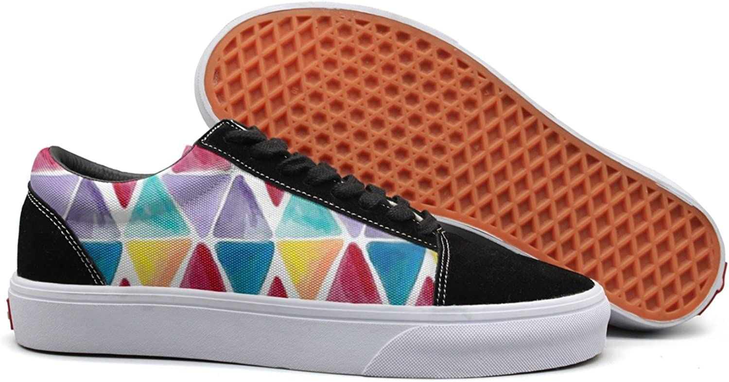 JDYHSGFR Women's Watercolor Geometric Background Casual Flat Canvas shoes Low-top Lace-up Sneakers