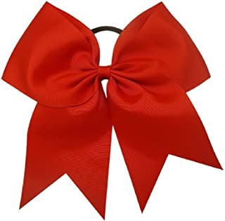 Kenz Laurenz Cheer Bows Red Cheerleading Softball - Gifts for Girls and Women Team Bow with Ponytail Holder Complete Your Cheerleader Outfit Uniform Strong Hair Ties Bands Elastics