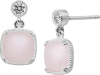 Roselle' Natural Rose Quartz & Cubic Zirconia Drop Earrings in Sterling Silver