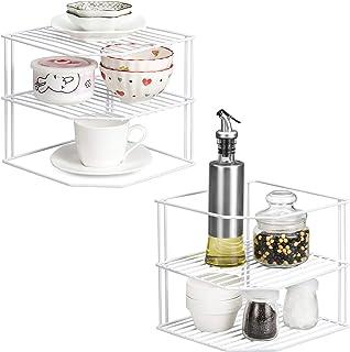 Qiwode Assiette à vaisselle, organisateur d'étagère de rangement à 3 niveaux pour armoire de cuisine, égouttoir à assiette...