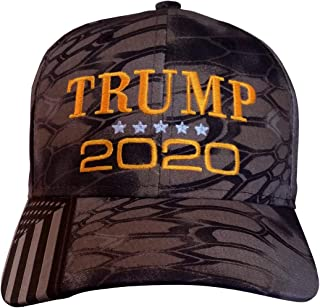 Trump 2020 Hat - Kryptek Highlander (Licensed) Camo w/American Flag on Bill (Trump 2020 USA-Flag Kryptek Highlander/Neonorange)