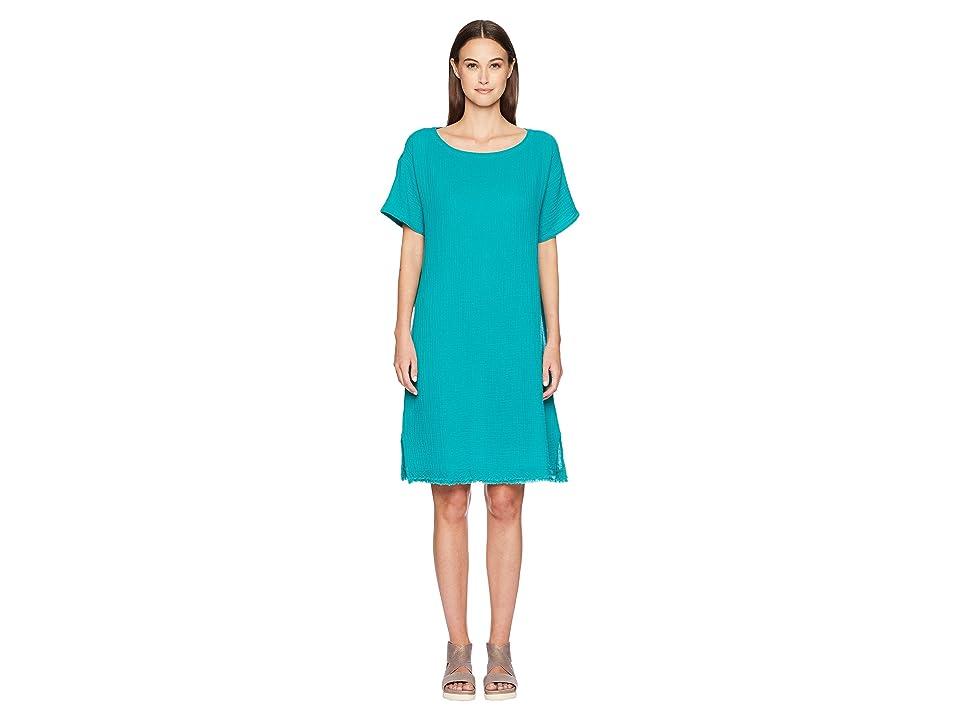 Eileen Fisher Bateau Neck K/L Dress (Turquoise) Women