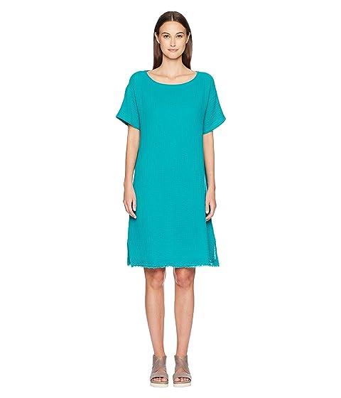 Bateau Neck K/L Dress, Turquoise