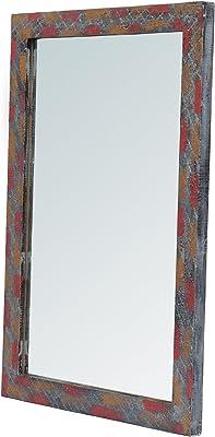 999Store Handmade Wooden Decorative Bathroom Mirror Multicolour Rusted Wall Small Mirror