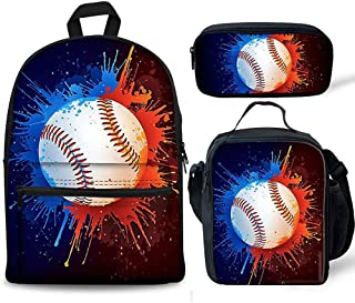 3 in1 Kids Backpack Baseball Printing Schoolbag Set with Lunch Bag + Pencil Case Children Lightweight Bookbags with Earpho...