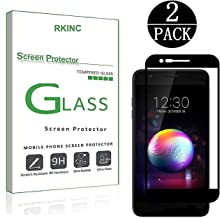 RKINC Screen Protector for LG K30, Full Coverage Tempered Glass Screen Protector [2.5D Round Edge][9H Hardness][Crystal Clear][Scratch Resist] forLG K30(2 Pack, Black)