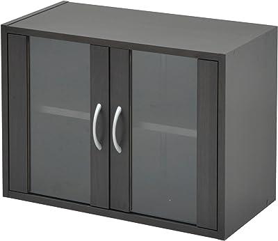 山善 食器棚 幅60×奥行29×高さ45cm ロータイプ ミニ マグネット式 棚板高さ調節可能 一人暮らし 組立品 ダークブラウン CCB-4560(DBR)