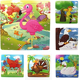 Muxihosn Wooden Jigsaw Puzzles with Storage Tray Birds Set Kids Toys Preschool Learning Game for 3-5 Years Old Child,Boys,Girls,Pack of 6(Parrot,Swan,Woodpecker,Flamingo,Eagle,Turkey)