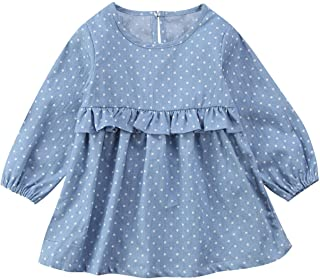 Infant Toddler Newborn Baby Girls Kids Denim Dot Tutu Dress Long Sleeve Party Dresses 0 3Y