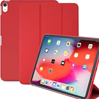 KHOMO iPad Pro 12.9 Inch Case 3rd Generation (Released 2018) - Dual Red Super Slim Cover with Rubberized Back and Smart Feature