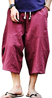 sandbank Mens Summer Casual Lounge Baggy Patchwork Linen Shorts Harem Capri Pants