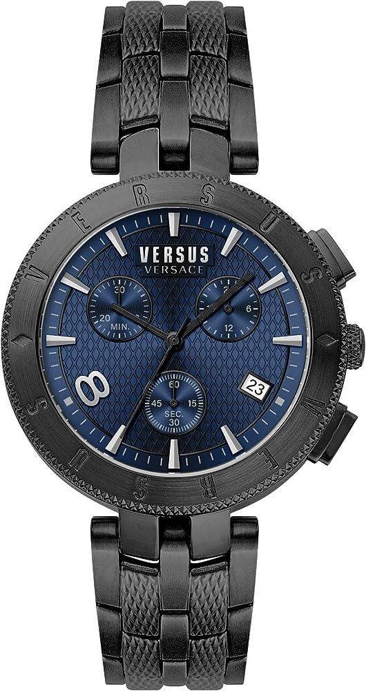 Versus by versace orologio cronografo da uomo in acciaio inossidabile colorato e quadrante blu VSP763418