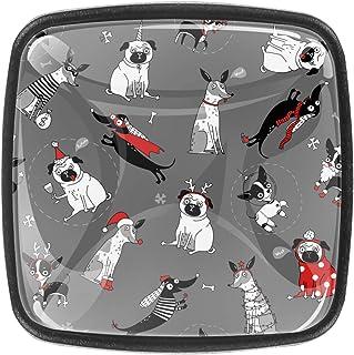 Chien en Costume de Noël Boutons D'armoire 4 Pcs Poignés Poignée De Champignons Boutons D'aluminium Porte Poignées avec Vi...