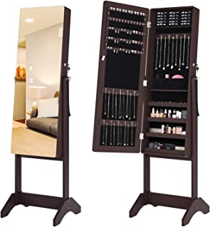 HOMECHO Mirrored Jewelry Cabinet Armoire with Full Length Mirror Lockable Storage Organizer Shelf Stand Free-Standing, 4 Angle Adjustments, Velvet Lining, Brown, HMC-MD-012