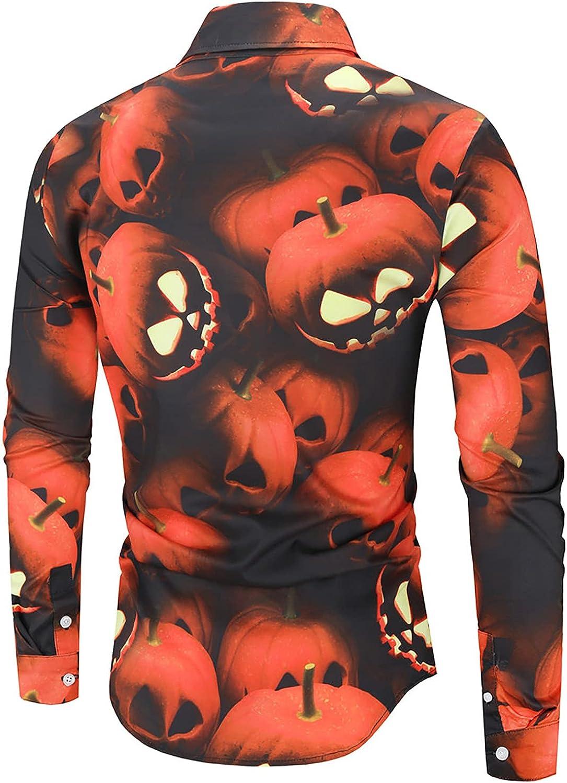 Men's Fun Printed Button Down Shirts Fashion Long Sleeve Halloween Shirt Casual Slim Fit Dress Shirts