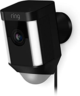 Ring Spotlight Wired Cam - WiFi Smart Home Security Camera Black - Wired - Led lights - Two way talk - Full HD live video - Outdoor - Motion Detection - Night Vision