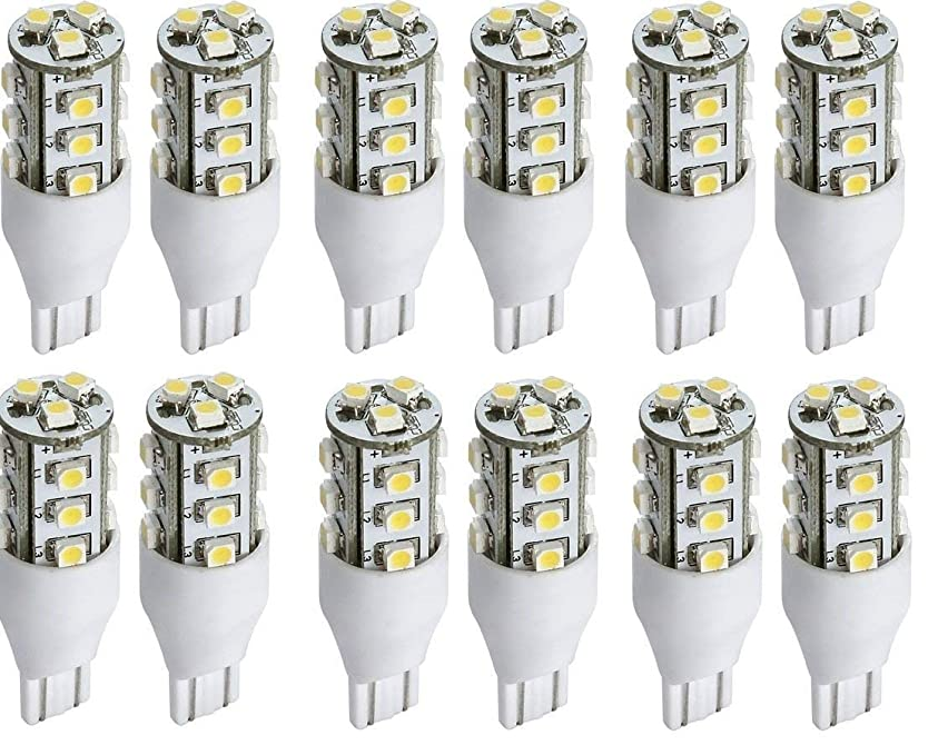 TCBunny LED Replacement Light Bulb 921/T15 Wedge base 52 Lumens 12v or 24v Natural White (12 Pcs)