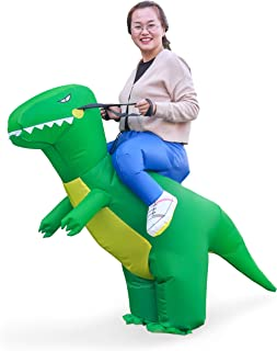 Halloween T-Rex Costume Inflatable Dinosaur Suit Halloween Dino Theme Party Dress Blow Up Costume Adult/Child (Adult Green)