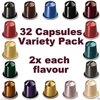 32 NESPRESSO CAPSULES Starter Pack, 2x FULL COFFEE RANGE - NOT Compatible with VERTUOLINE machines