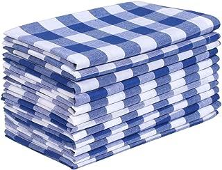 Dinner Napkin Gingham Plaid Check, 100% Cotton Napkin, Wedding Napkins, Cocktails Napkins, Fabric Napkins, Cotton Napkins, Mitered Corners & Generous Hem, Set of 12, 18x18 inches, Ink Blu White Checks