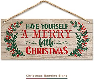 ACPOP Christmas Hanging Sign,Winter Decorative Wall Wood Signs, Indoor Outdoor Horizontal Sign for Home, Classroom, Office