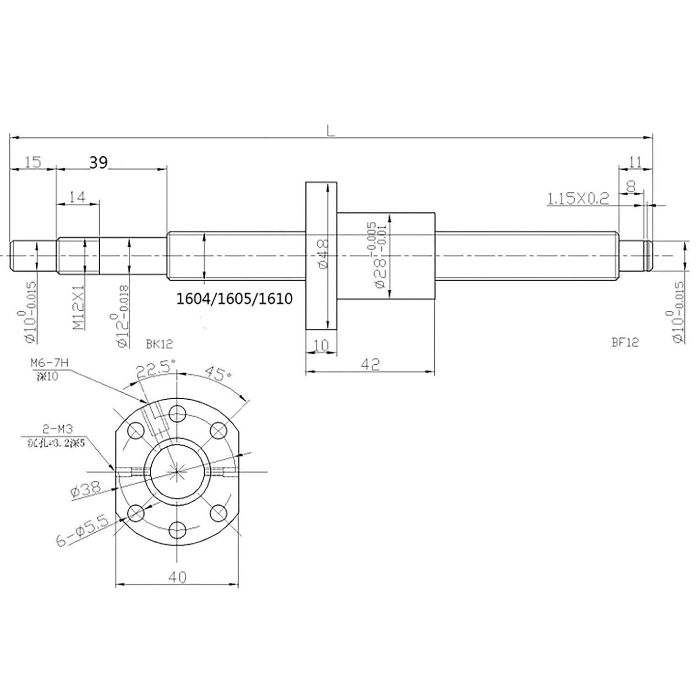 rail de support CNC SBR16 300 mm Kit de vis sph/ériques SFU1605 longueur environ 300 mm 300 mm Kit de vis /à bille