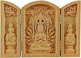 QHYT Buddha Statue Carving Locker Box, Avalokitesvara Sculpture Decoration Made of Boxwood, Golden