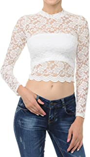 LoveInStyle Women's Sexy Floral Lace Mock Neck Long Sleeve Crop Top