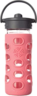 Lifefactory 12-Ounce BPA-Free Glass Water Bottle with Straw Cap and Protective Silicone Sleeve, Coral
