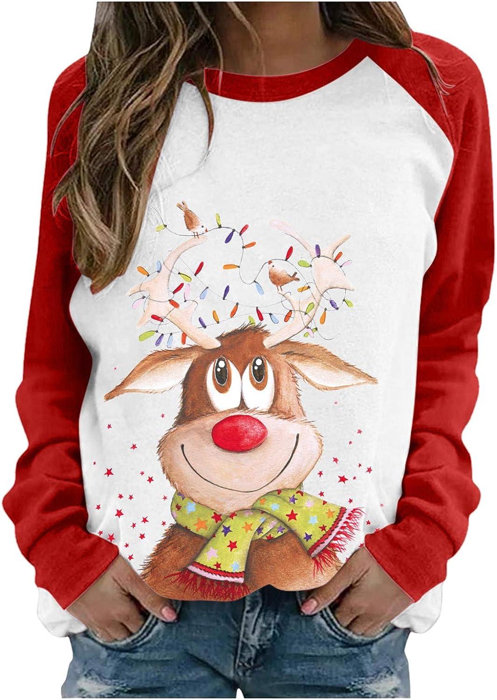 LATINDAY Santa Christmas T-Shirt Women Long Sleeve Cute Funny Raglan Shirts Tops