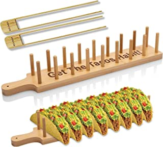 Bamboo Taco Holder Stand Plate Tray with 2 Tongs - Rack Holds 8 Soft or Hard Shell Tacos - Great also for Burritos and Tor...