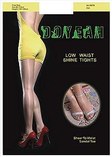 DOYEAH 光沢オールスルー 10デニール パンティーストッキング (フリーサイズ(150-185cm), ブラック)