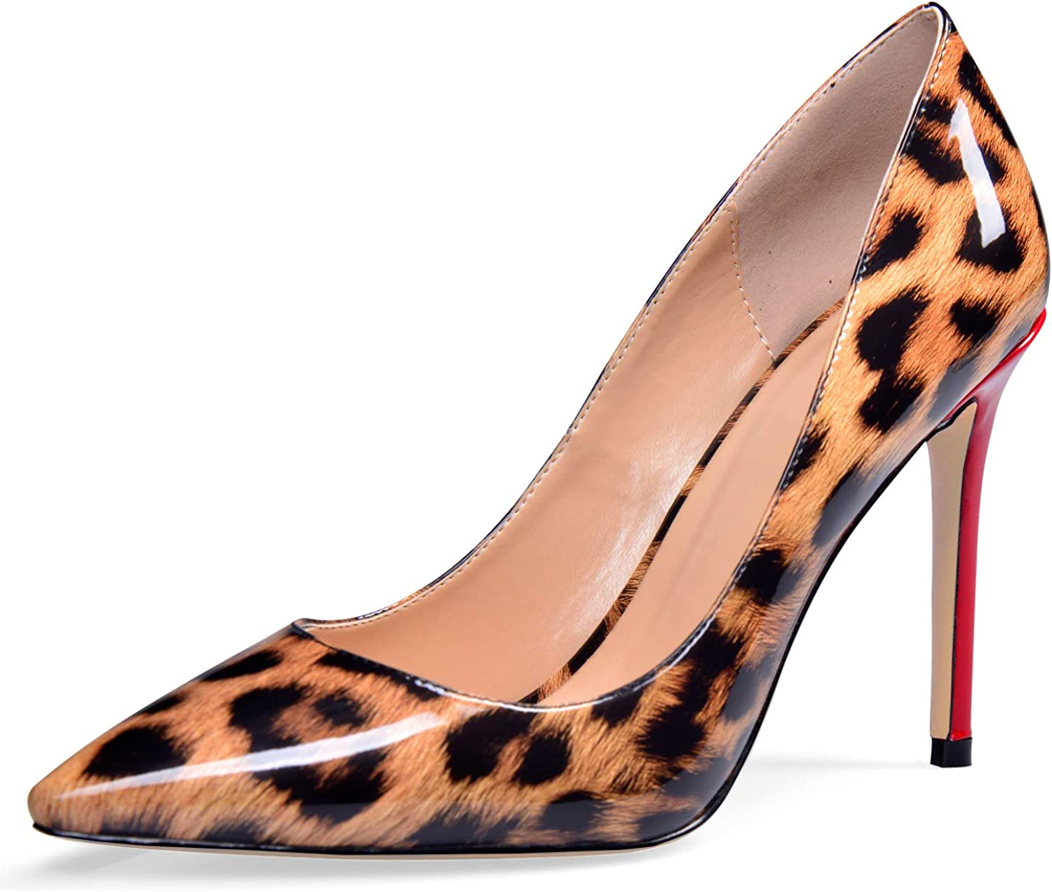 YODEKS Women's Pointed Toe Patent Leather Pumps High Heel Animal Print shoes Leopard shoes US12