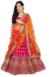 Drashti villa Women's Embroidered Beautiful Wedding Lehenga Choli (0.80 MTR Blouse Piece,Pink, Free Size)