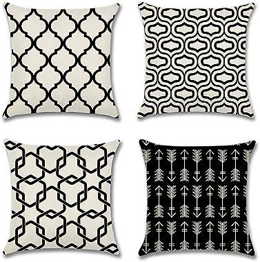 Artscope Lot DE 4 Housse De Coussin, Polyester et Lin Décoratif Taie d'oreiller Style Géométrique Simple Moderne Canapé V