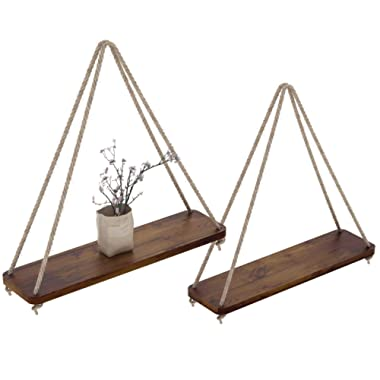 """Rustic Set of 2 Wooden Floating Shelves with String – Farmhouse Hanging Shelves for Living Room Wall – Small Kitchen Shelves with Rope – 17""""x5.2"""" – Distressed, Torched Brown Color"""