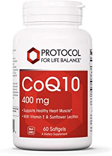 Protocol For Life Balance - CoQ10 400 mg - Supports Healthy Heart Muscle with Vitamin E and Lecithin, Cardiovascular and C...