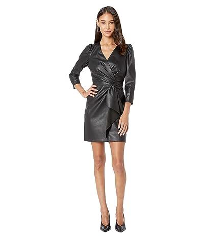 Rebecca Taylor Long Sleeve Vegan Leather Dress (Black) Women