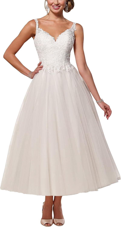 SecretCastle Women's Lace and Tulle A Line Short Wedding Dress Party Gown