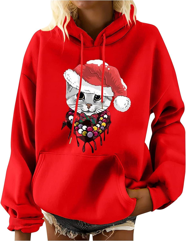 Wirziis New sales Women's Fashion Hoodies Pri Sweatshirts Christmas Cat Department store